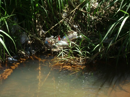 Sacolas e garrafas plásticas jogadas na rua pela população correm diretamente para o córrego trazidas pelas galerias de água pluvial.