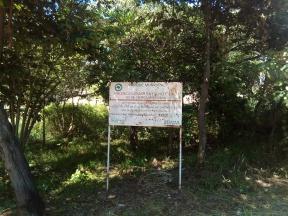 Placa na nascente do córrego Água Branca
