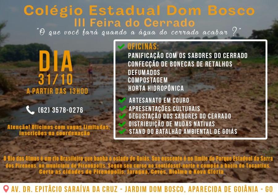 Cartaz III feira do Cerrado do colégio Estadual Dom Bosco